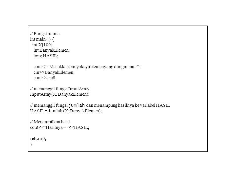 // Fungsi utama int main ( ) { int X[100]; int BanyakElemen; long HASIL; cout<< Masukkan banyaknya elemenyang diinginkan : ;